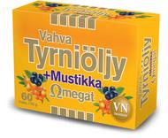 Kuva tuotteesta Vahva Tyrniöljy + Mustikka Omegat, 60 kaps