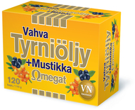 Kuva tuotteesta Vahva Tyrniöljy + Mustikka Omegat, 120 kaps