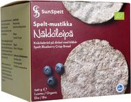 Kuva tuotteesta SunSpelt Luomu Täysjyvänäkkileipä, Mustikka-Nokkonen