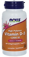 Kuva tuotteesta Now Foods D3-vitamiini 25 mikrog