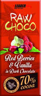 Kuva tuotteesta Leader Raw Choco Red Berries & Vanilla (parasta ennen 31.07.2017)